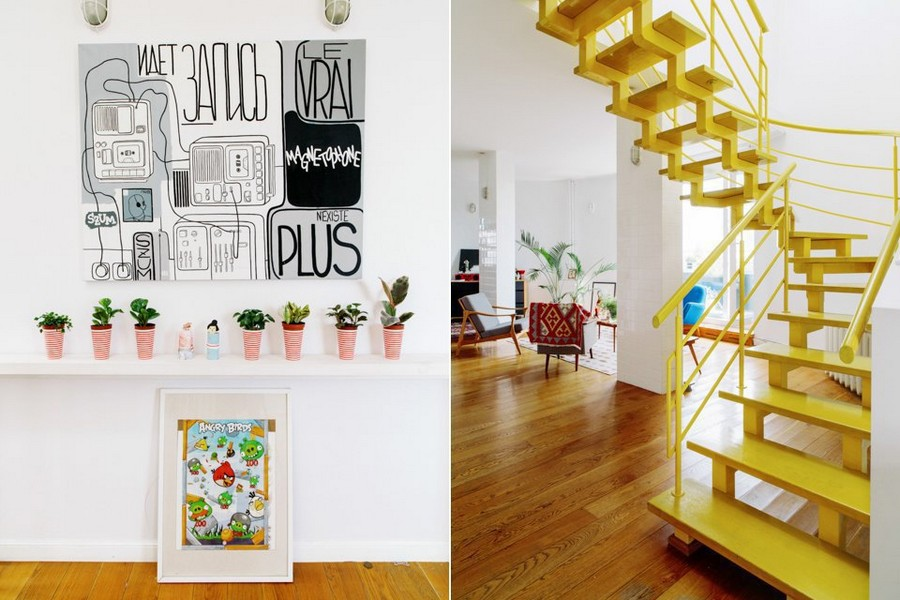 1-eclectic-style-corridor-interior-design-white-walls-bright-accents-many-potted-indoor-plants-yellow-staircase-wall-lanterns