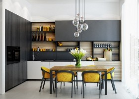 1-eco-minimalist-Scandinavian-style-white-walls-black-kitchen-set-Poliform-interior-design-natural-materials-wooden-dining-table-yellow-chairs-group-of-round-ball-lamps