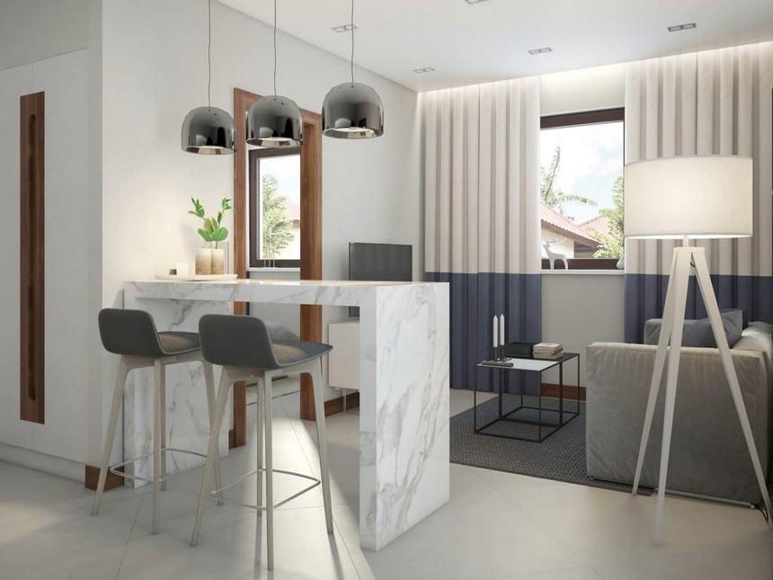 1-minimalist-Scandinavian-style-interior-design-white-walls-gray-blue-funriture-open-concept-kitchen-living-room-marble-bar-table-stools-bicolor-curtains-pendant-lamps-Zuiver-Tripod-floor-lamp