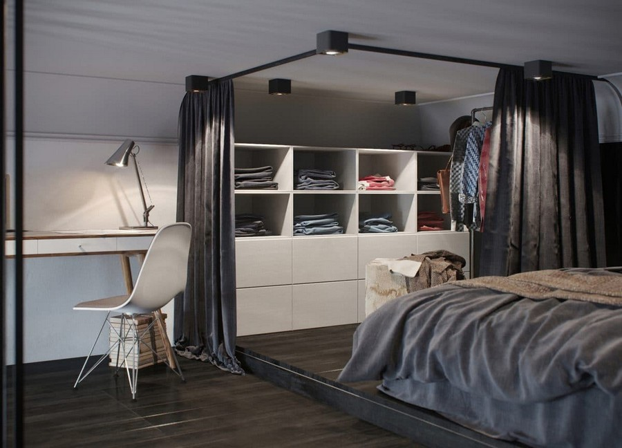 1-monochrome-gray-and-white-apartment-interior-design-with-mezzanine-floor-loft-bed-curtained-walk-in-closet-work-area-desk