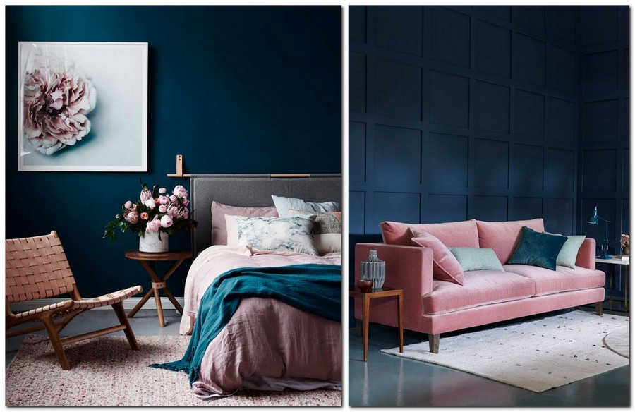 1--top-colors-2017-Pantone-lapis-blue-in-interior-design-and-pale-dogwood-powder-pink-bedroom-living-room-sofa-bed-walls