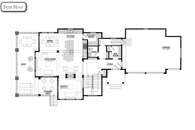 Ocean view house floor plans for Backyard cottage floor plans