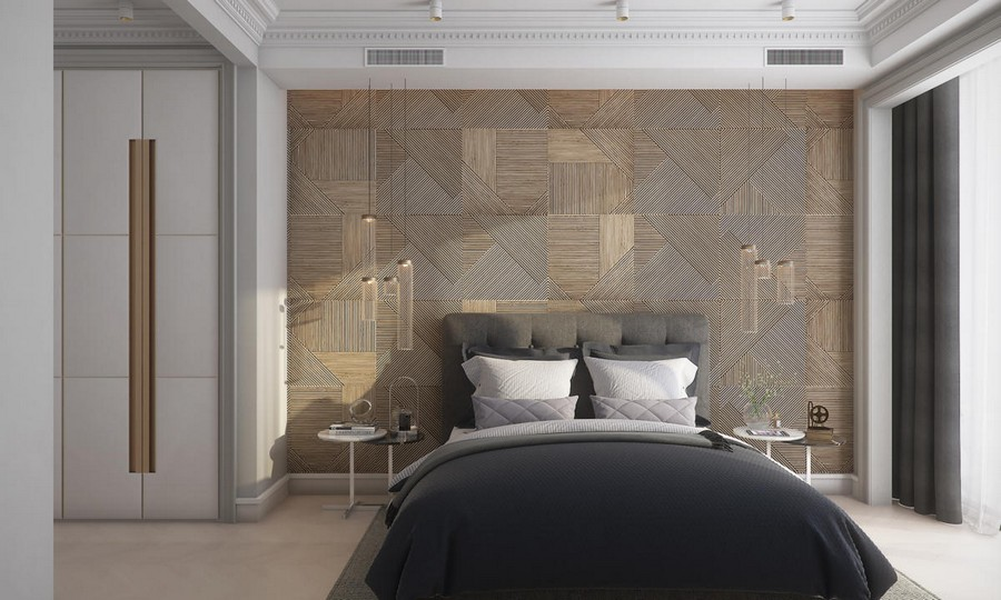 10-9-neutral-beige-and-gray-colors-bedroom-interior-design-in-contemporary-style-wooden-wall-panels-decor-built-in-closet-blue-bedspread-pendant-bedside-lamps