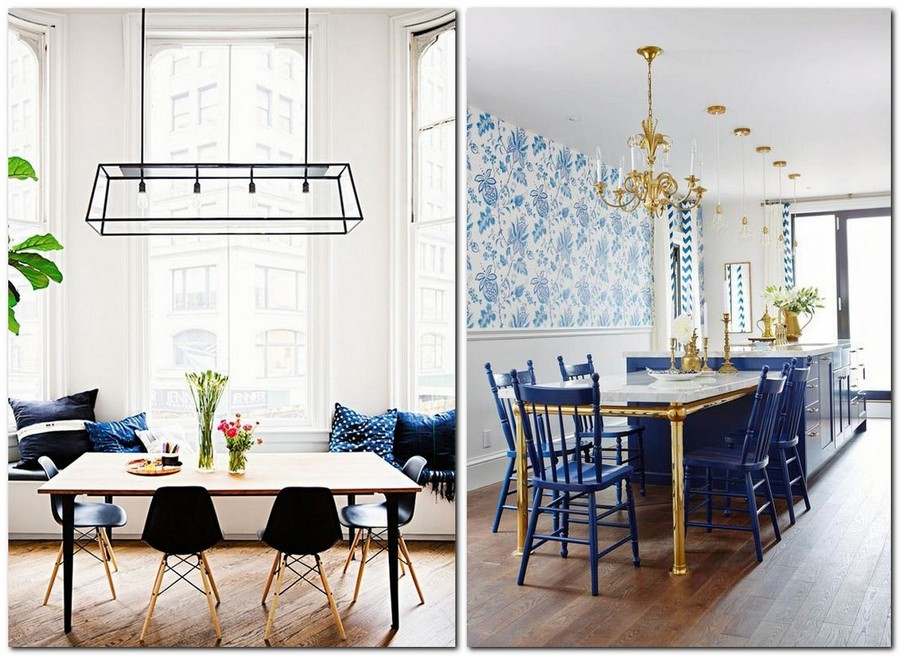 10-top-colors-2017-Pantone-lapis-blue-in-interior-design-dining-room-set-chairs-table-walls-lamps