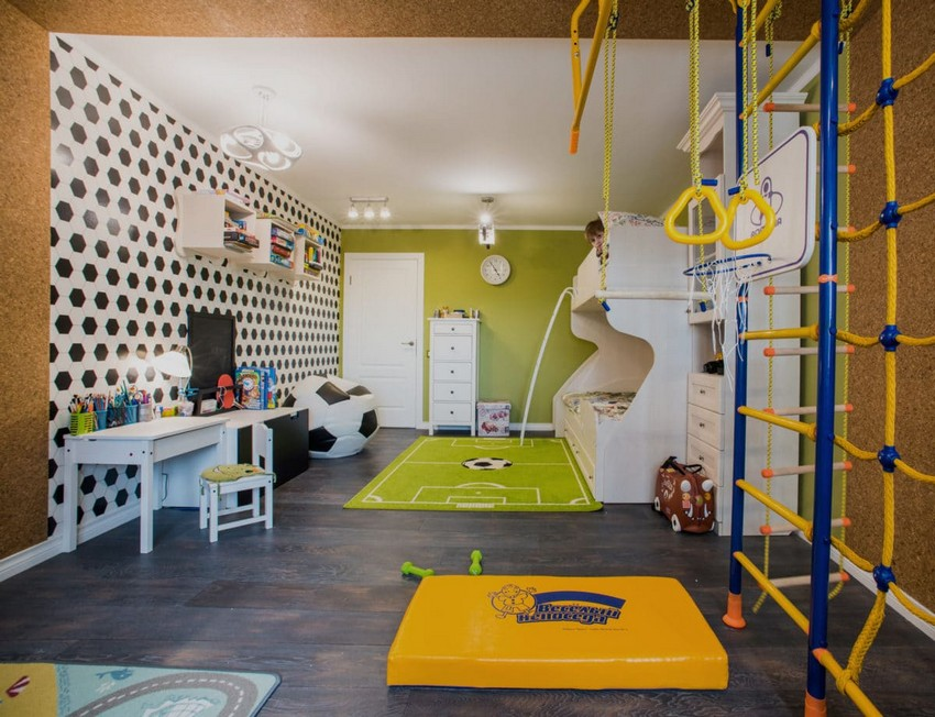 11-green-and-white-traditional-kid's-bedroom-toddler-room-interior-design-football-inspired-carpet-loft-bed-wallpaper-ball-frameless-chair-corkwood-wall-sports-corner-climbing-frame