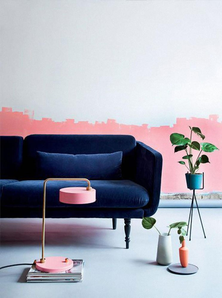11-interesting-original-wall-decor-ideas-abstract-pink-painting-and-blue-living-room-interior-design-velvet-sofa