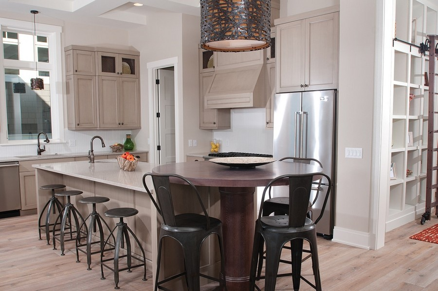11-open-concept-kitchen-island-gray-set-bar-stools-pendant-lamp-traditional-style-two-sinks