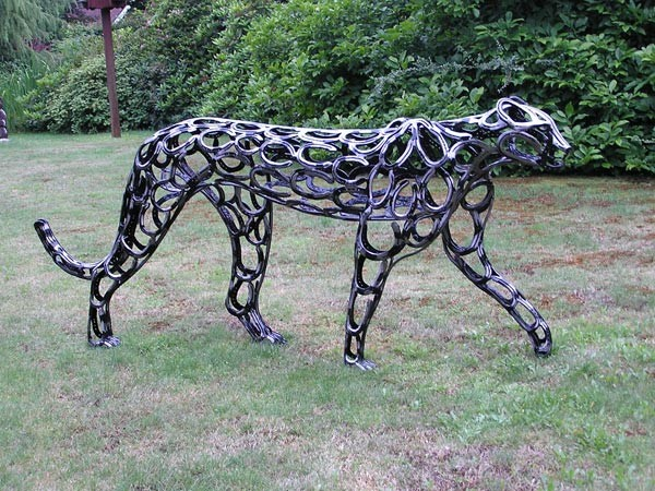 12 Cheetha Forgen Metal Garden Sculptures Art From