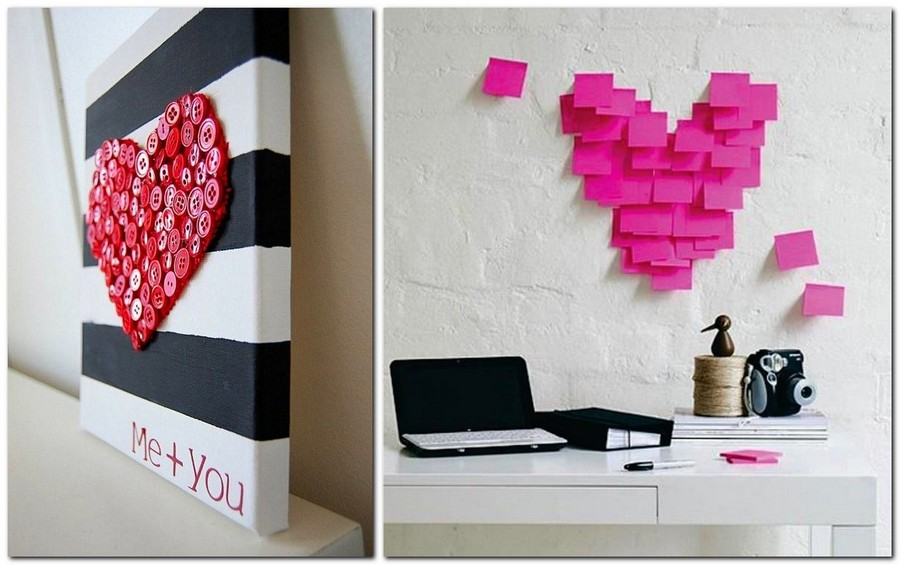 12-how-to-decorate-room-for-Valentine's-Day-decor-ideas-button-hand-made-heart-sticky-notes-composition