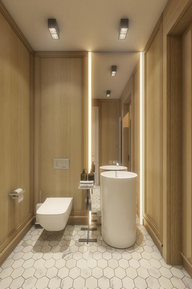 12-neutral-beige-and-gray-colors-guest-bathroom-interior-design-in-contemporary-style-natural-oak-panels-walls-LED-light-Hansgrohe-Villeroy-&-Boch-toilet-wash-basin-fixtures