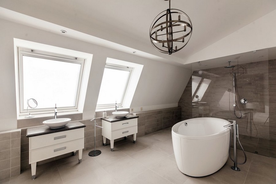 12-spacious-big-minimalist-bathroom-interior-design-two-wash-basins-cabinets-oval-bath-bathtub-glass-shower-cabin-attic-sloped-ceiling-two-skylights