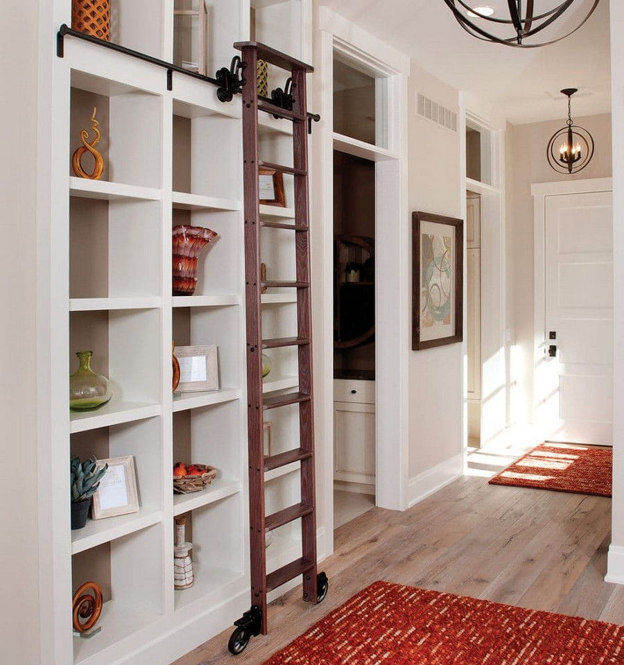 13-home-library-shelving-unit-book-shelves-staircase-wheeled-sliding-ladder