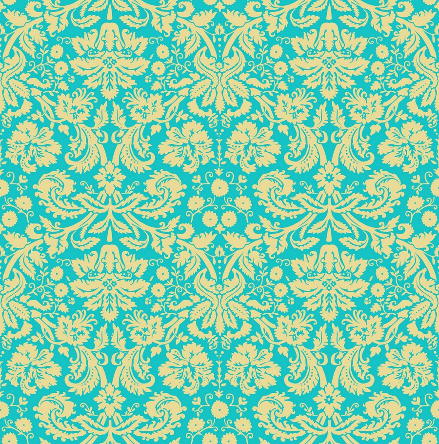 2-1-damask-silk-blue-and-yellow-floral-pattern-English-British-style-wallpaper-design-Victorian