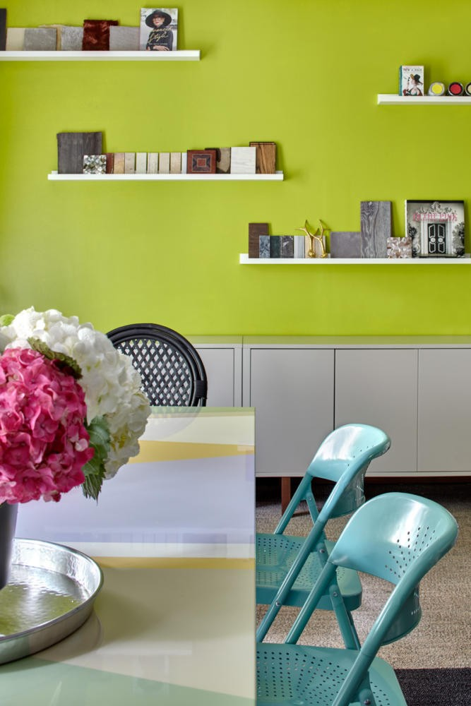 2-2-bright-cheerful-white-gray-and-green-office-interior-design-in-contemporary-style-wall-shelves-cabinets-turquoise-chairs-table-desk-flowers