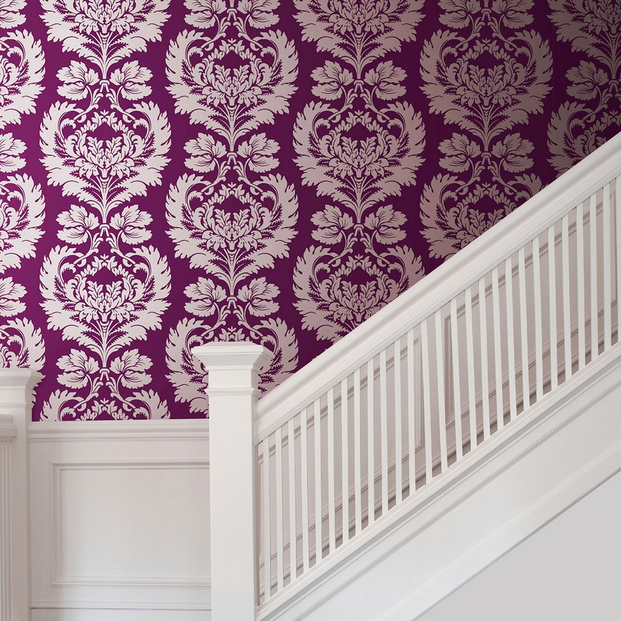 2-2-purple-and-silver-pomegranate-pattern-English-British-style-wallpaper-design-Victorian