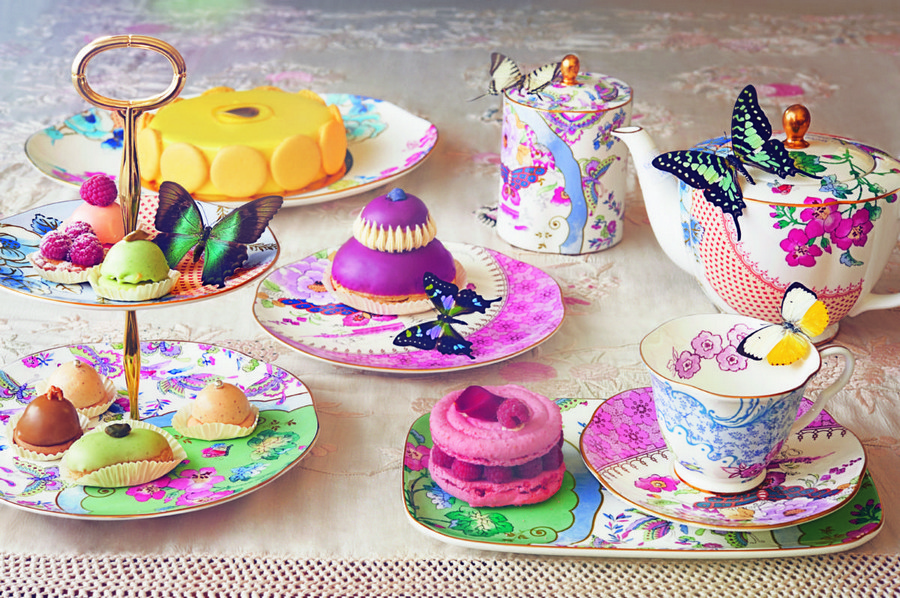 2-Butterfly-Bloom-English-porcelain-china-tea-set-teapot-tray-saucers-cups-cake-small-dessert-stand-holder-flowers-butterflies-spring