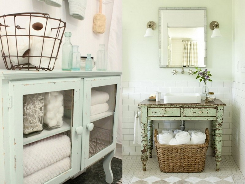 2-Provence-style-bathroom-interior-design-vintage-retro-bathtub-decor-pastel-colors-furniture-worn-aged-wash-basin-cabinet-woven-metal-baskets