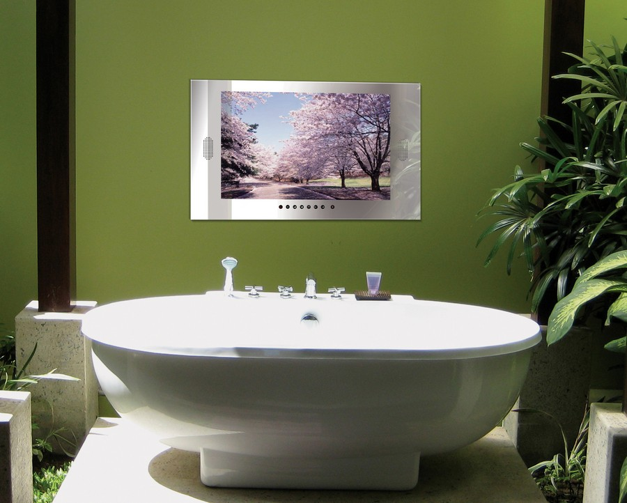 Unique  TV set in bathroom interior design green