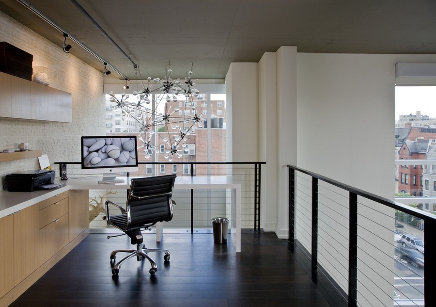 2-mezzanine-floor-home-office-work-area-interior-design-desk-chair-computer-laser-printer-panoramic-windows-chandelier