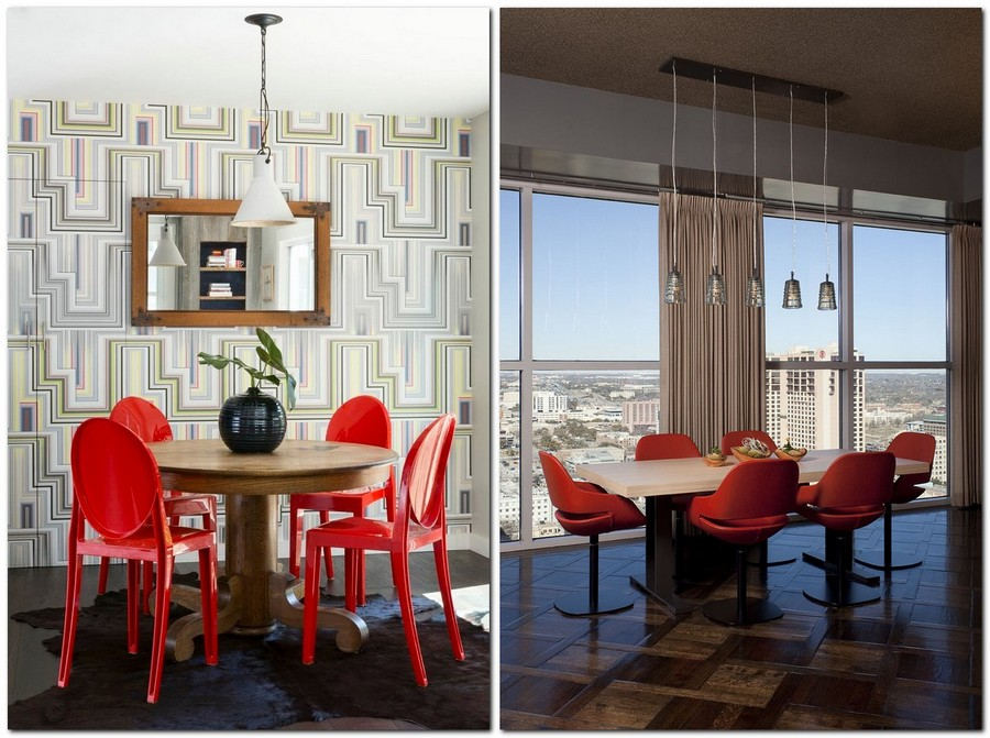 2-red-dining-chairs-accent-table-in-kitchen-interior-design-round-table-geometrical-wallpaper-panoramic-windows