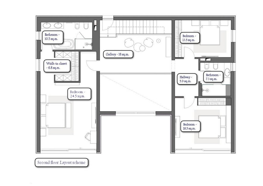2 seven room two floor villa house interior - House Interior Layout
