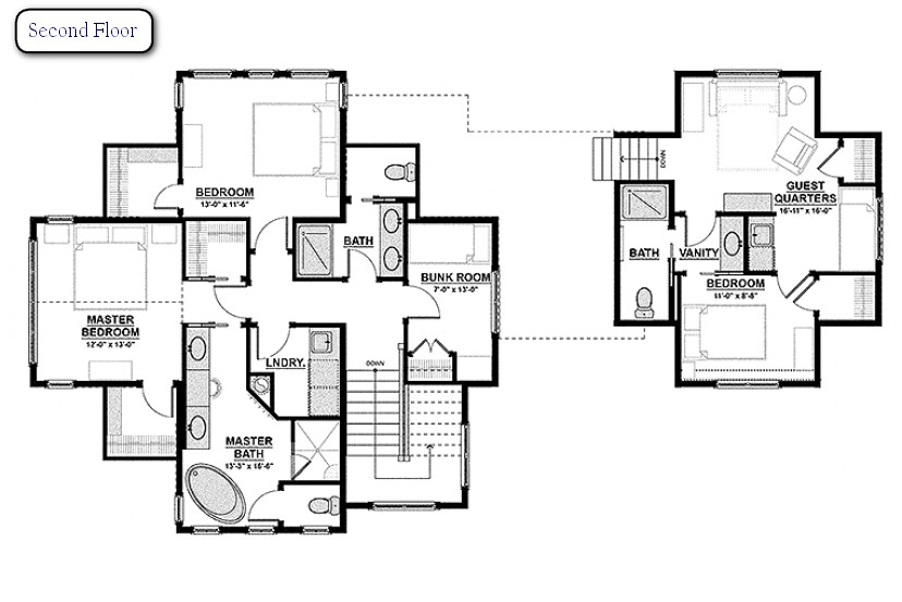 2-traditional-contemporary-three-floor-house-plan-layout-scheme-with-furniture-second-floor