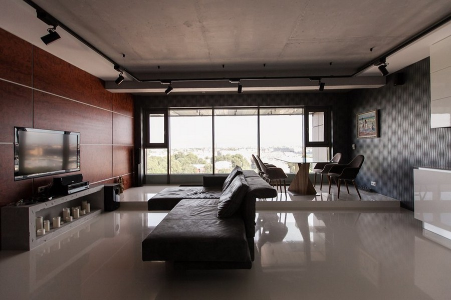 Bachelors Apartment With Podiums Panoramic Windows