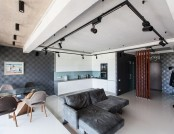 Bachelor's Apartment with Podiums, Panoramic Windows & Loft Motifs