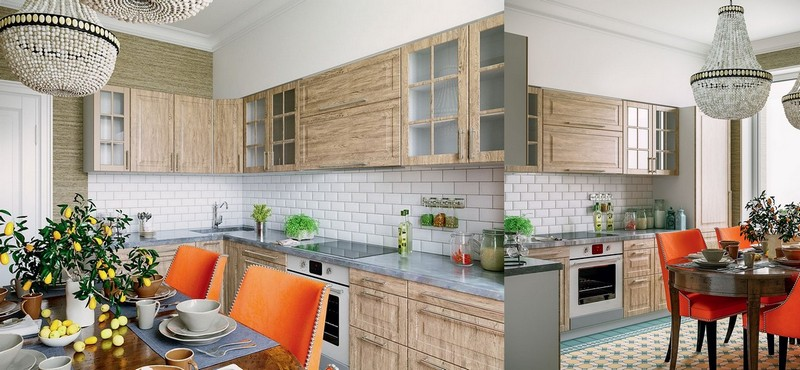 3-4-American-contemporary-style-kitchen-interior-design-classical-beads-chandelier-dining-table-chairs-brick-tiles-backsplash-naturalistic-cabinets-MDF-set-Mettlach-floor-tiles-beige-blue-orange