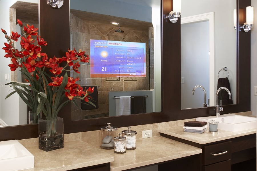 3-Mirror-TV-set-in-bathroom-interior-design-wash-basin-beige-stone