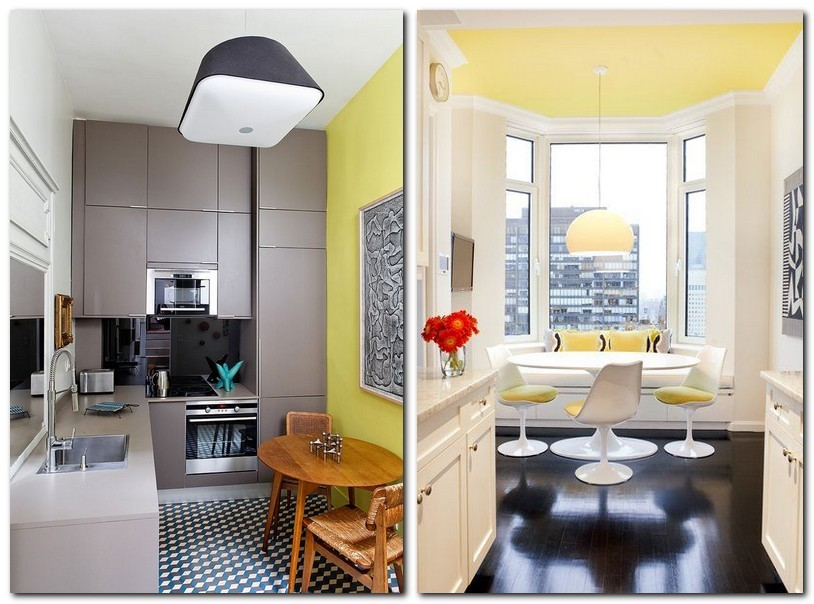 3-Primrose-Yellow-color-pantone-2017-in-interior-design-kitchen-dining-room-wall-bay-window-gray-set-table-chairs