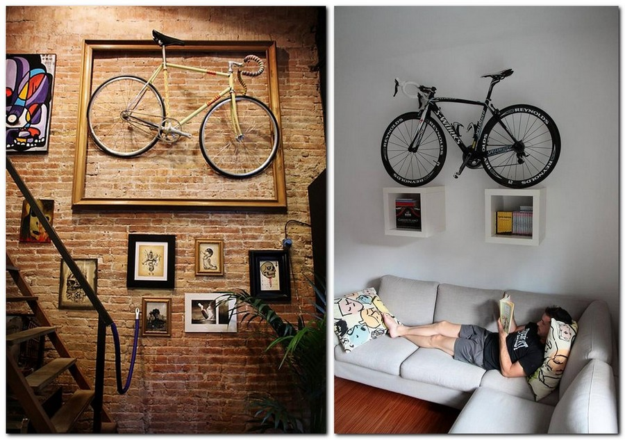3-creative-bike-bicycle-storage-idea-wall-mount-rack-framed-on-book-shelves-wall-decor