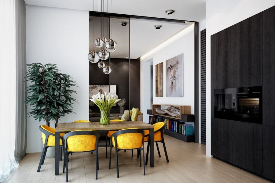 3-eco-minimalist-Scandinavian-style-kitchen-interior-design-natural-materials-black-set-wooden-table-yellow-chairs-big-glass-sliding-door-group-of-round-lamps-white-walls