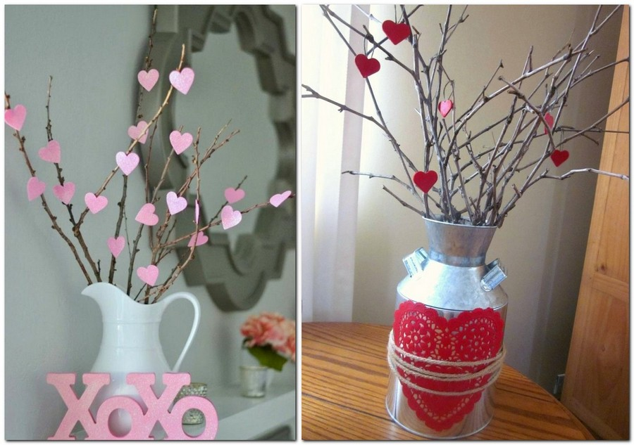 3-how-to-decorate-room-for-Valentine's-Day-decor-ideas-tree-branch-paper-hearts-ceramic-jug-metal-milk-barrel
