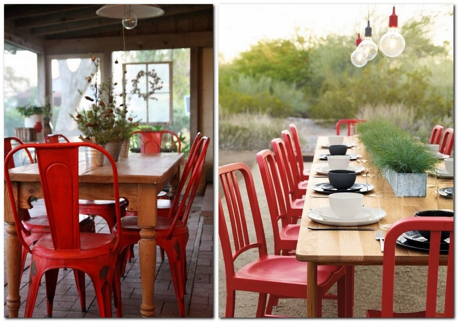 3 red dining chairs accent table in garden 15 Reasons to Have Red Dining Chairs   Home Interior Design  . Red Dining Chairs And Table. Home Design Ideas