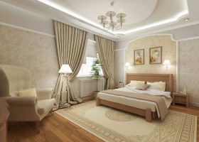 3-stretch-ceiling-in-interior-design-bedroom-beige-classical-style-wallpaper