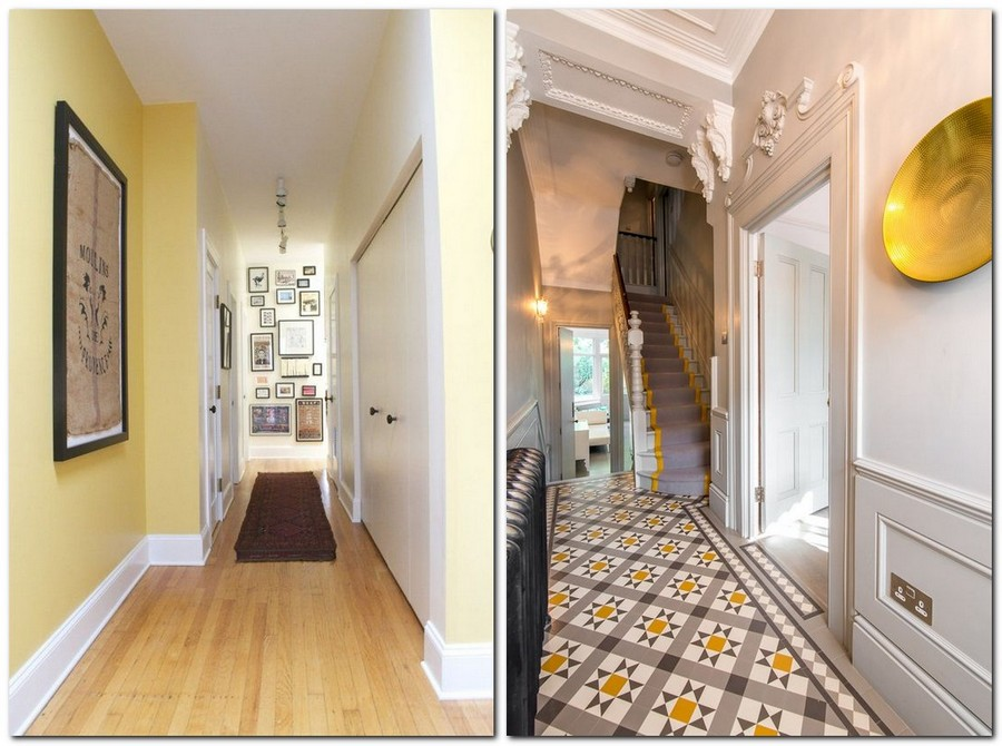4-Primrose-Yellow-color-pantone-2017-in-interior-design-corridor-decorative-plate-gray-and-white-Mettlach-tiles-walls-staircase