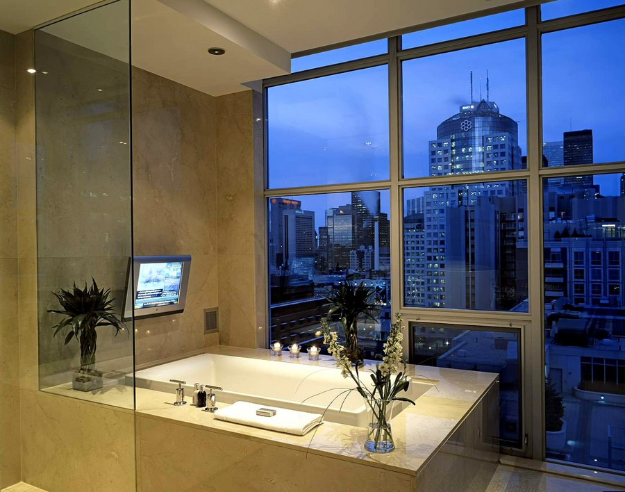 4-TV-set-in-bathroom-interior-design-bath-beige-walls-panoramic-window-city-view