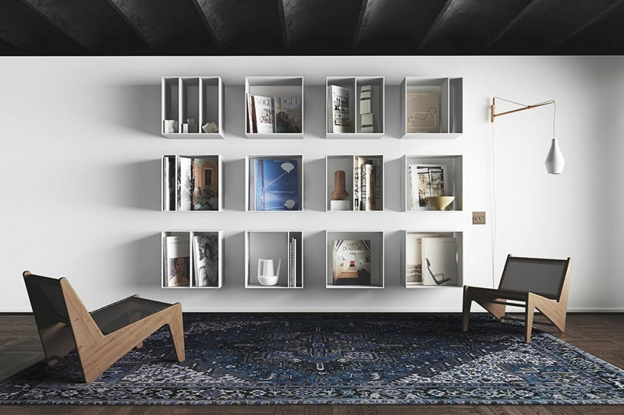 4-ascetic-minimalist-loft-style-interior-design-white-walls-black-ceiling-living-room-reading-corner-geometrical-wooden-arm-chairs-book-shelves