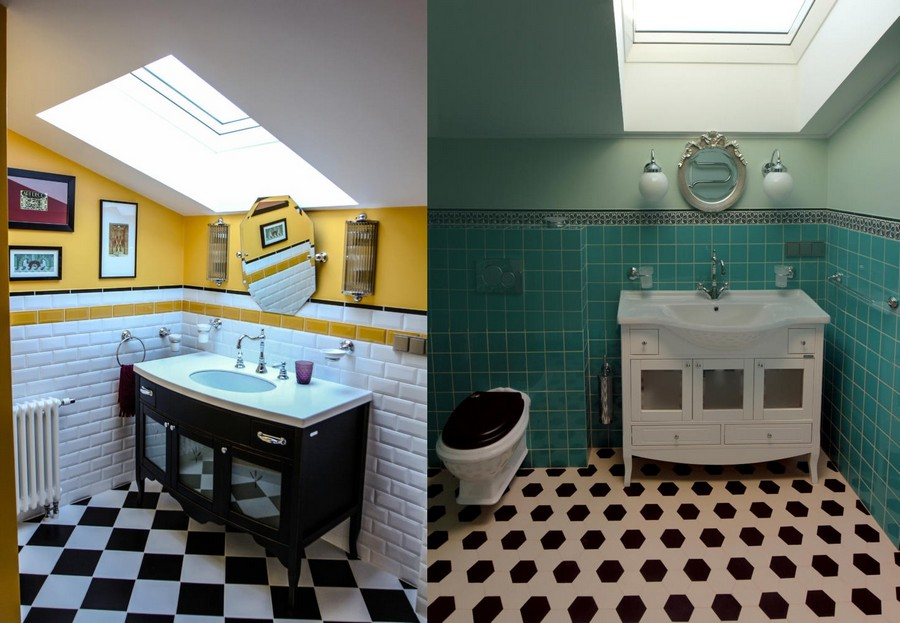 4-attic-floor-bathroom-interior-design-eclectic-style-black-and-white-floor-turquoise-tiles-brick-yellow-paint