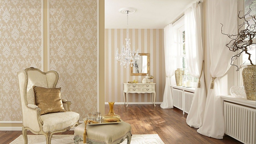 4-beige-and-white-neo-classical-style-living-room-interior-design-arm-chair-with-footrest-dressing-table-vinyl-stripy-floral-wallpaper-radiators-curtains-drapery