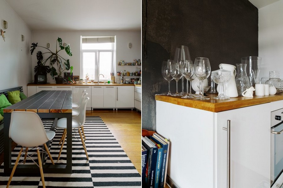 4-eclectic-style-kitchen-interior-design-white-walls-cheese-plant-sink-near-window-no-upper-cabinets-white-base-IKEA-set-wooden-worktop-floor-dining-table-bench-black-and-white-carpet
