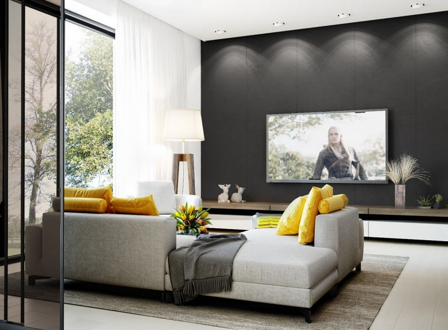 4-eco-minimalist-Scandinavian-style-living-room-interior-design-natural-materials-black-wall-white-gray-sofa-yellow-accents-decorative-pillows-carpet-panoramic-window-TV