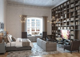 4-loft-studio-apartment-with-mezzanine-brown-floor-to-ceiling-home-library-gray-furniture-upholstered-double-bed-TV-zone-sofa-arm-chairs-white-brick-wall-chandeliers-glass-lampshades-bicolor-curtains