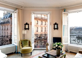 4-modern-French-apartment-interior-design-France-living-room-Paris-view-panoramic-bay-windows-arm-chair-coffee-table-river