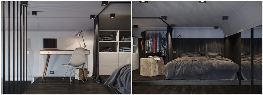 4-monochrome-gray-black-and-white-apartment-interior-design-with-mezzanine-floor-loft-bed-curtained-walk-in-closet-work-area-desk
