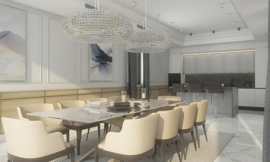 4-neutral-beige-and-gray-colors-interior-design-in-contemporary-style-open-concept-dining-room-kitchen-glass-table-crystal-chandeliers-black-and-white-carpet-bar-stools-marble-floor-tiles