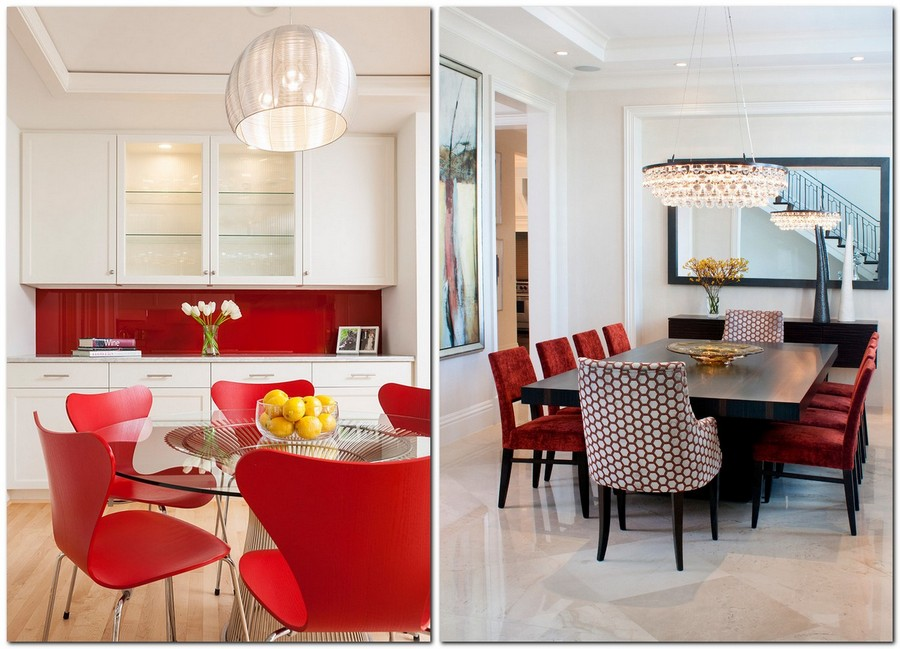 4-red-dining-chairs-accent-table-in-kitchen-interior-design-white-walls-cabinets-red-backsplash-plastic-velvet-glass-top-mismatched