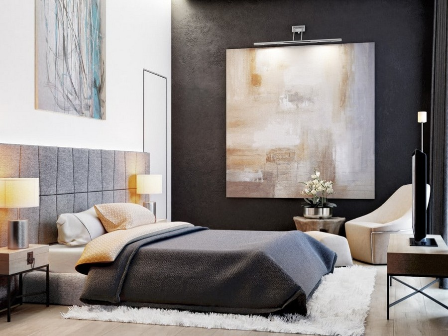 5-1-eco-minimalist-Scandinavian-style-bedroom-interior-design-natural-materials-gray-upholstered-headboard-bed-black-wall-big-painting-arm-chair-lamps-shaggy-carpet-white