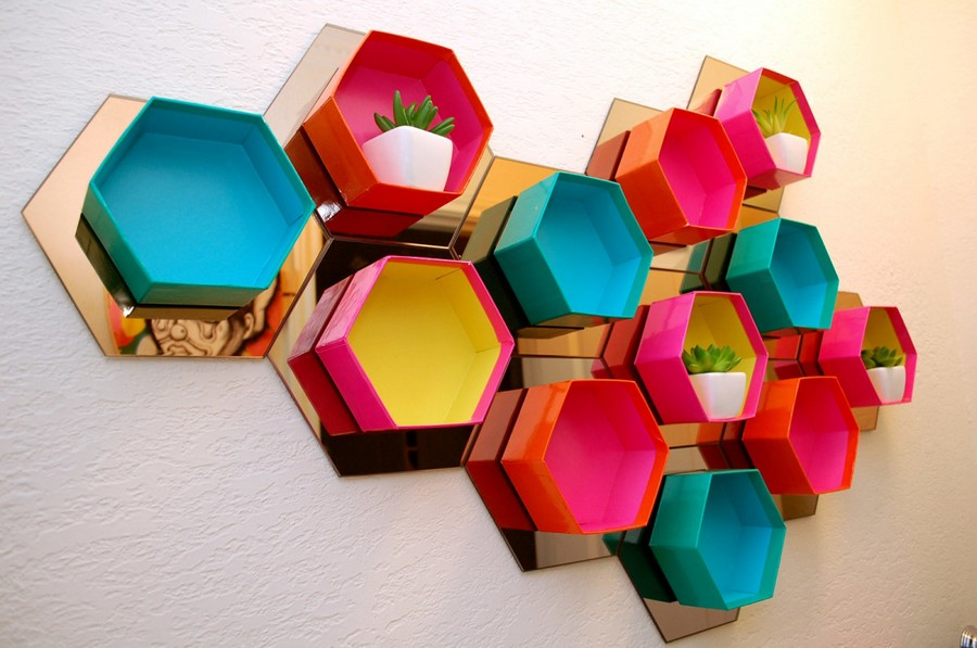 5-DIY-bright-multicolored-handmade-hexagonal-honeycomb-shelving-unit-decorative-shelves-wall-decor-with-mirrored-tiles